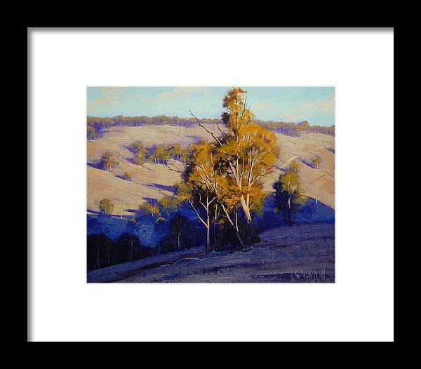 Art Framed Print featuring the painting Afternoon Shadows Turon Hills Nsw Australia by Graham Gercken