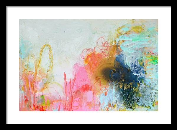 Abstract Framed Print featuring the painting Afternoon Snooze by Claire Desjardins