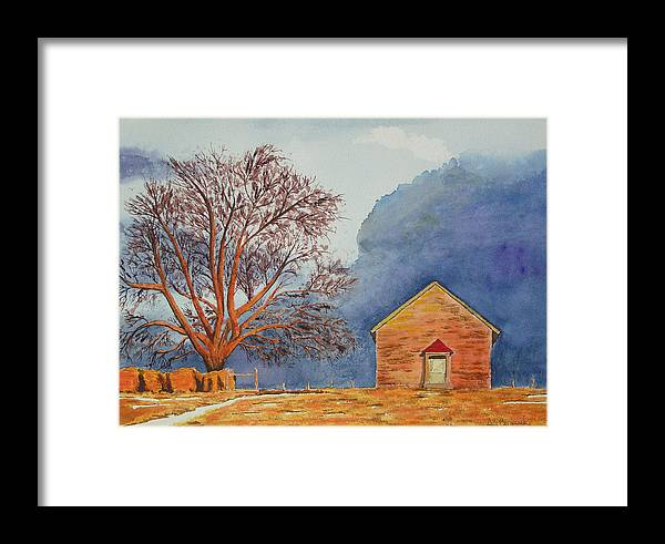 Landscape Framed Print featuring the painting Afternoon Storm by Ally Benbrook