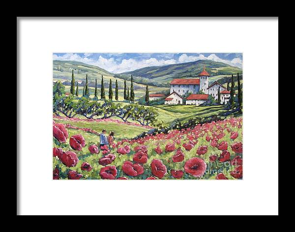 Tuscan Framed Print featuring the painting Afternoon Stroll by Richard T Pranke