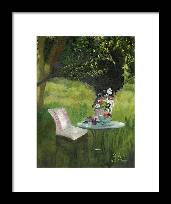Landscape Framed Print featuring the painting Afternoon Tea by Gloria Condon
