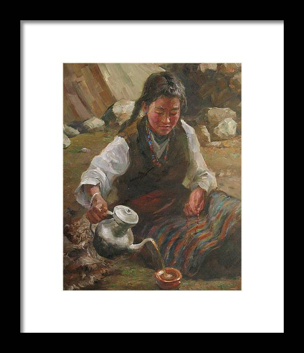Tibet Framed Print featuring the painting Afternoon Tea by Kelvin Lei