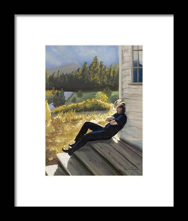 Cowboy Framed Print featuring the painting Afternoon Tranquility by Brenda Williams