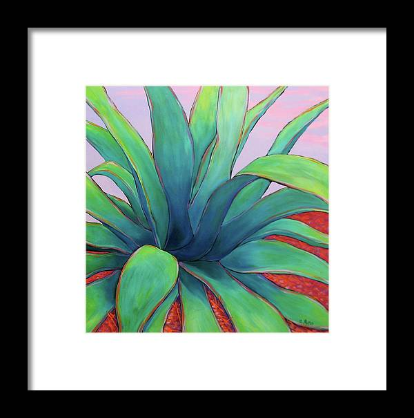Agave Framed Print featuring the painting Agave Dusk by Nancy Matus