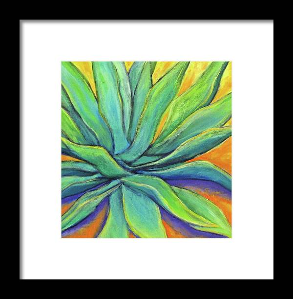 Agave Framed Print featuring the painting Agave Glow by Nancy Matus