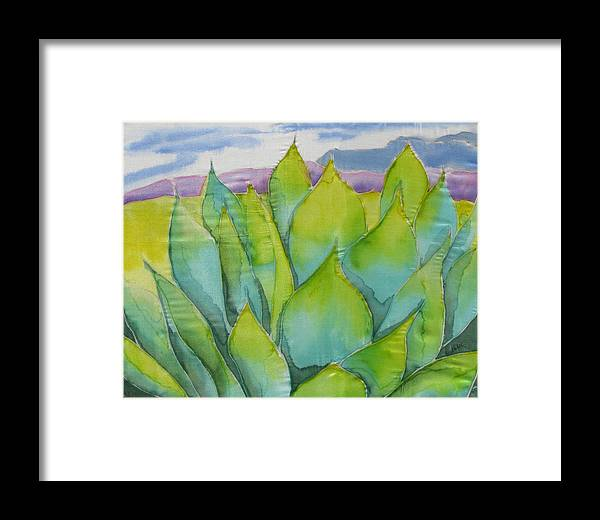 Landscape Framed Print featuring the painting Agave by Kathy Mitchell