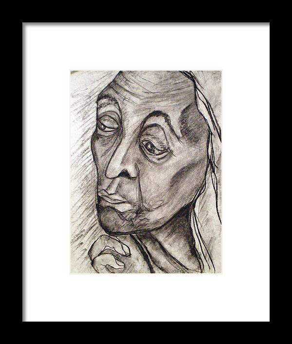 Woman Women Age Wisdom Old Portrait Portraits Framed Print featuring the drawing Age And Wisdom by Tammera Malicki-Wong