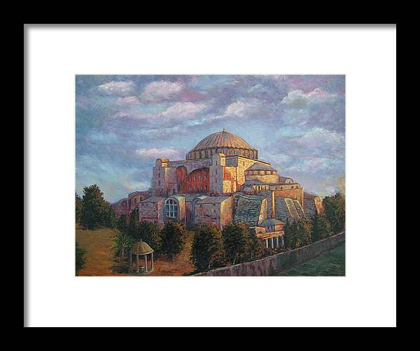 Church Framed Print featuring the painting Agia Sofia by Charalampos Laskaris