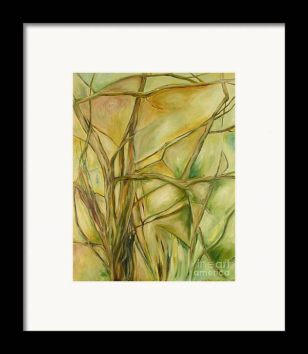 Trees Abstract Green Framed Print featuring the painting Agile Green by Leila Atkinson