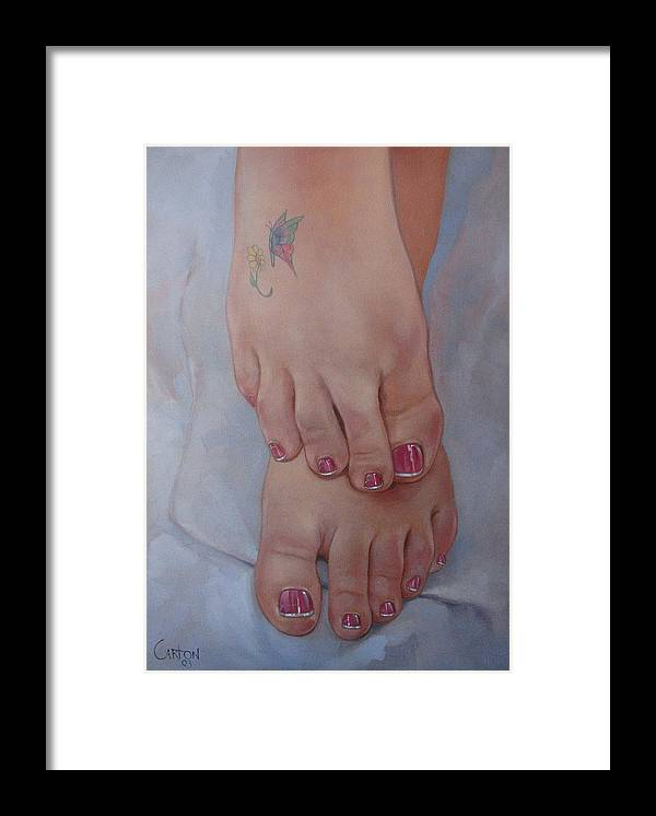 Pretty Feet Framed Print featuring the painting Aimee by Jerrold Carton