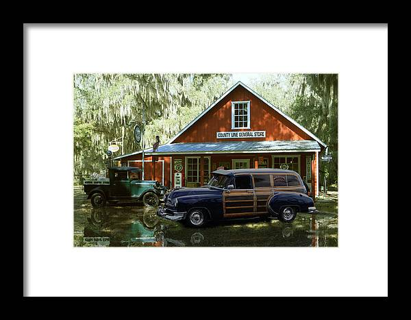 51 Chevy Sedan Delivery At Country Store Framed Print featuring the digital art Air Brushed Woody At Country Store by John Breen