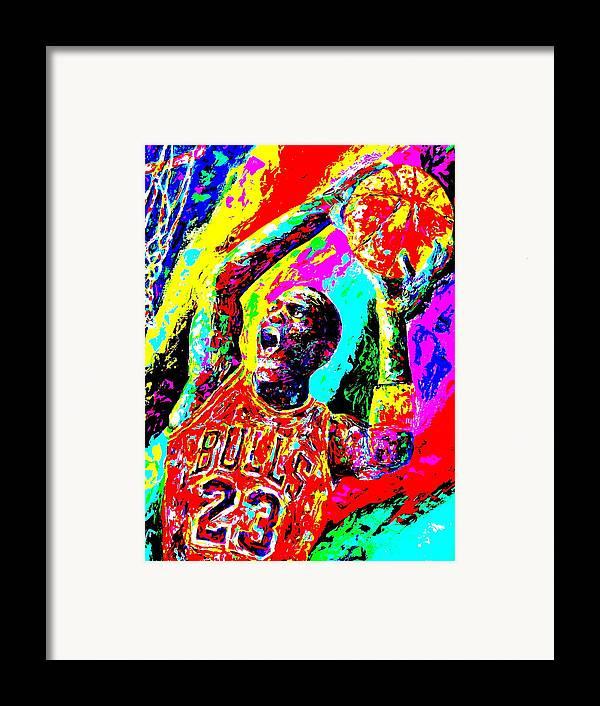 Air Jordan Framed Print featuring the painting Air Jordan by Mike OBrien
