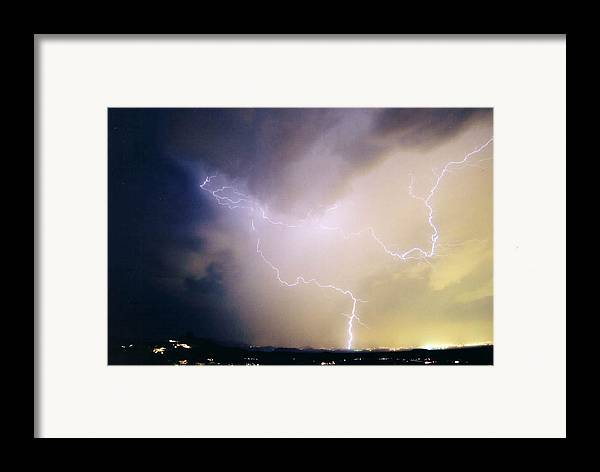 Lightning Framed Print featuring the photograph Air Strike 1 by Cathy Franklin