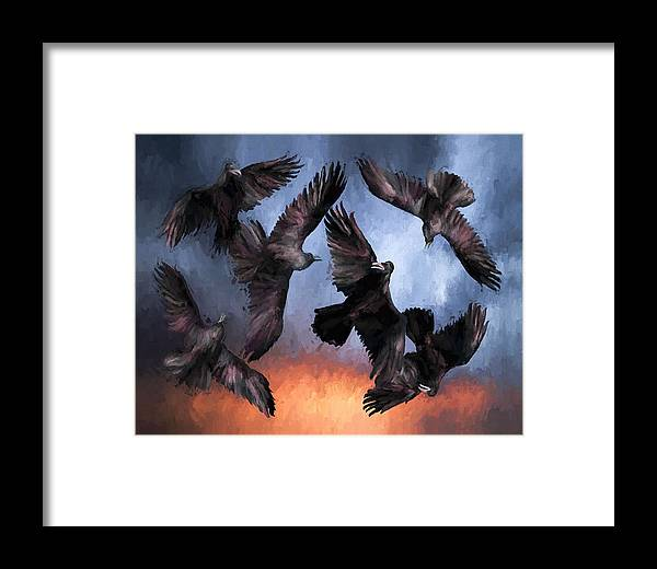 Fine Art Framed Print featuring the painting Airborne Unkindness by David Wagner