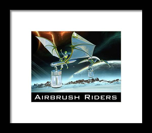 Landscape Framed Print featuring the digital art Airbrush Riders by John Los