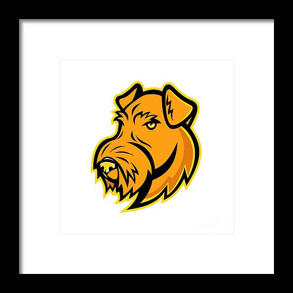 Mascot Framed Print featuring the digital art Airedale Terrier Dog Mascot by Aloysius Patrimonio