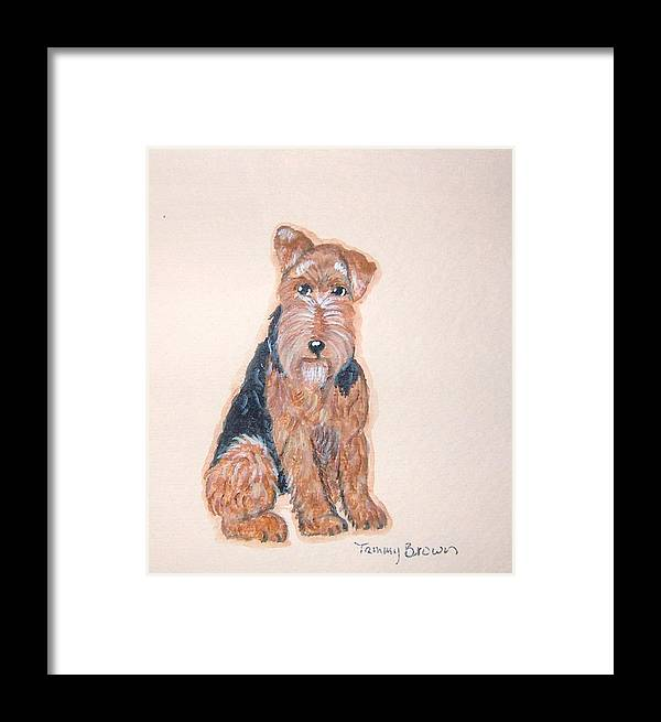 Airedale Terrier Framed Print featuring the painting Airedale Terrier by Tammy Brown