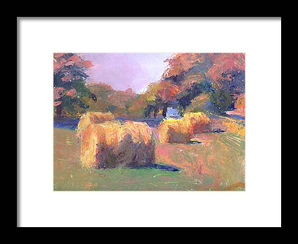 Landscape Framed Print featuring the painting Airmont Hay Bales Morning by Timothy Chambers