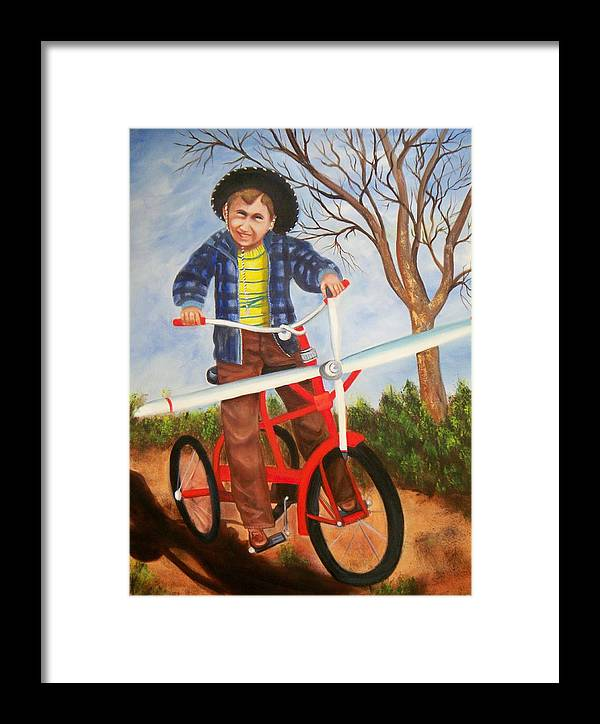 Framed Print featuring the painting Airplane Bike by Joni McPherson