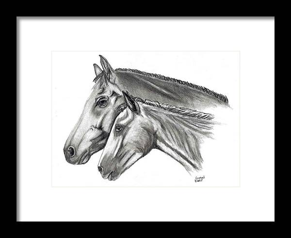 Charcoal Framed Print featuring the drawing Aj And Candy by Crystal Suppes