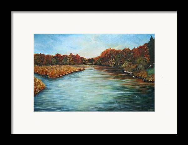 Original Acrylic Landscape Framed Print featuring the painting Ajax Marsh by Sharon Steinhaus