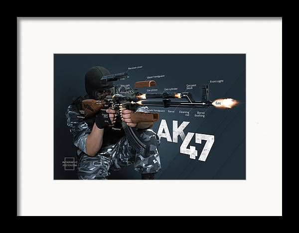 Ak-47 Framed Print featuring the digital art Ak-47 Infographic by Anton Egorov