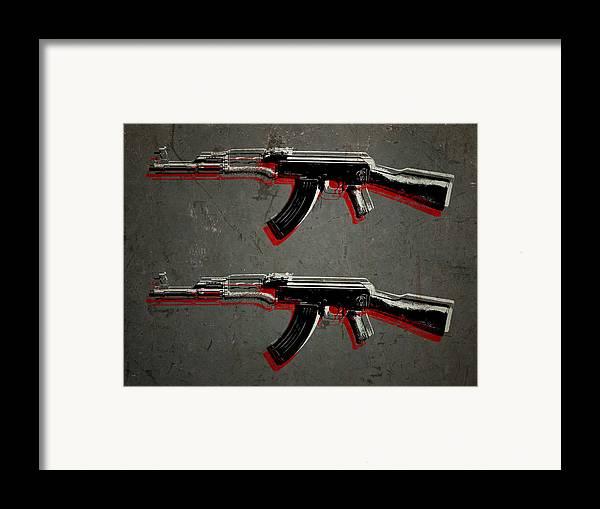 Ak47 Framed Print featuring the digital art Ak47 Assault Rifle Pop Art by Michael Tompsett