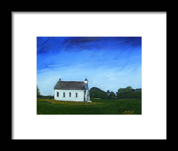 Akron Townhouse School Framed Print featuring the painting Akron Townhouse School by Maria Soto Robbins