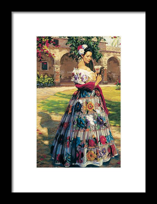 Woman Elaborately Embroidered Mexican Dress. Background Mission San Juan Capistrano. Framed Print featuring the painting Al Aire Libre by Jean Hildebrant