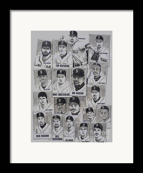 Mbl Framed Print featuring the drawing Al East Champions Red Sox Newspaper Poster by Dave Olsen