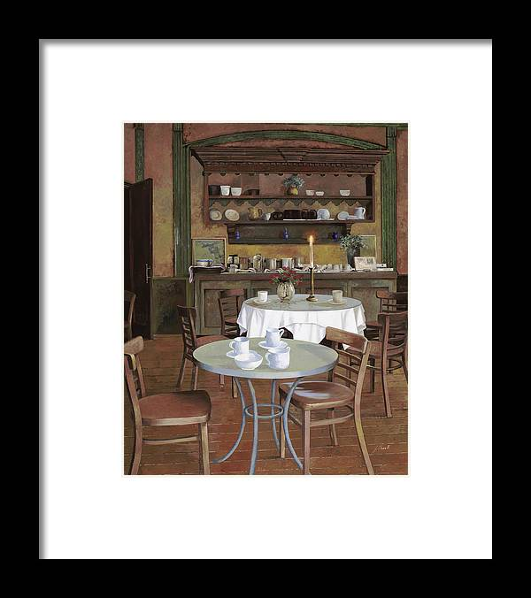 Cafe Framed Print featuring the painting Al Lume Di Candela by Guido Borelli
