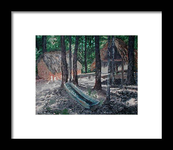 Indian Framed Print featuring the painting Alabama Creek Indian Village by Beth Parrish