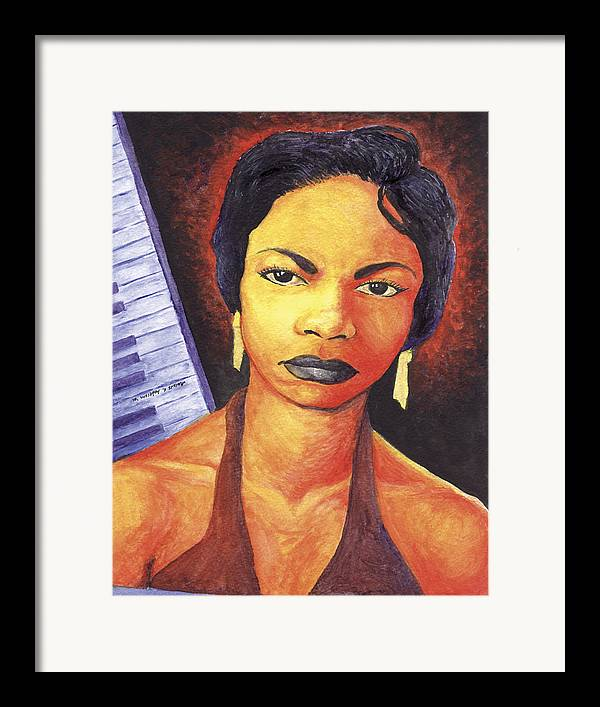 Nina Simone Framed Print featuring the painting Alabamas Got Me So Upset by Marcus Anderson