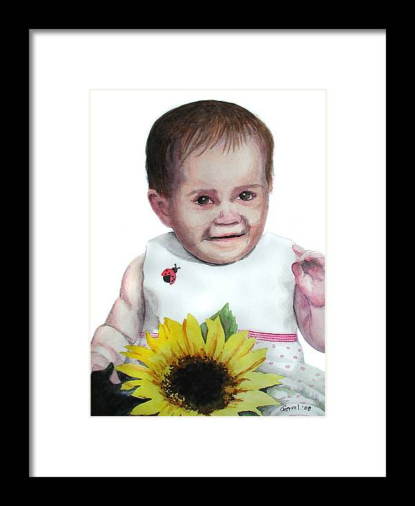 Baby Framed Print featuring the painting Alaina by Ferrel Cordle