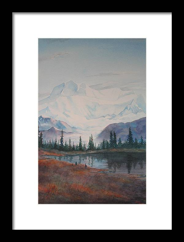 Alaska Framed Print featuring the painting Alaksa Mountain And Lake by Debbie Homewood