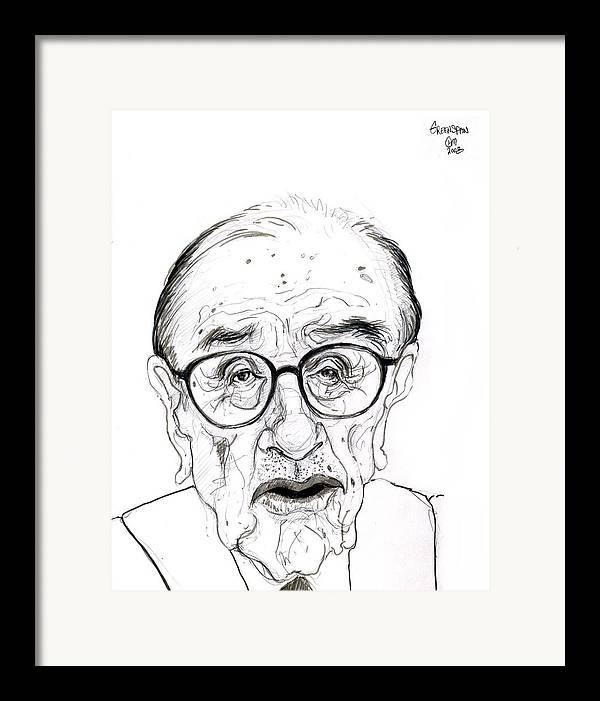 Political Satire Cartoon Graphite Drawing Framed Print featuring the drawing Alan Greenspan by Cartoon Hempman