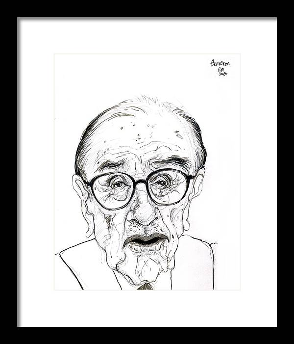 Political Satire Cartoon Graphite Drawing Framed Print featuring the drawing Alan Greenspan by Cartoon Hempman