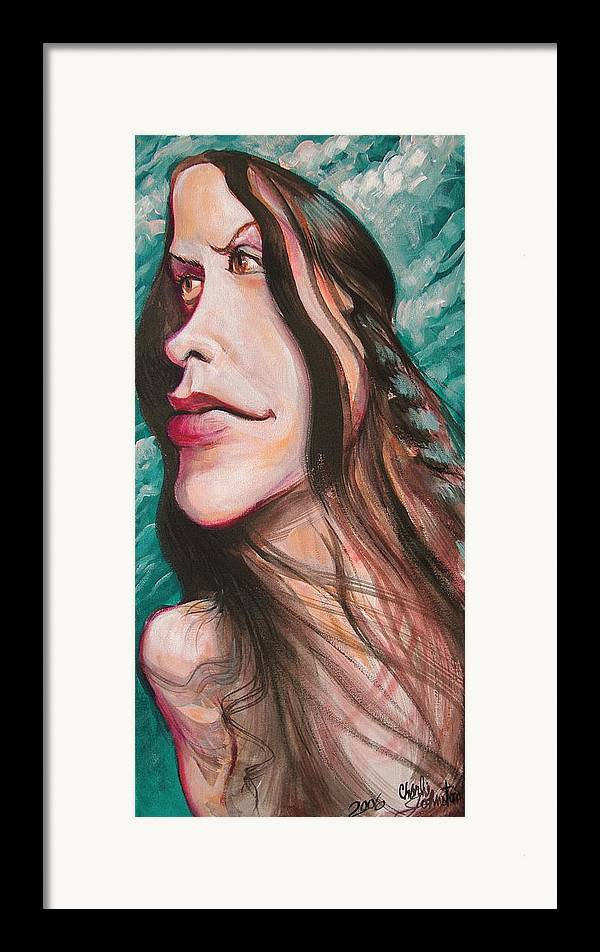 Portrait Framed Print featuring the painting Alanis Morissette by Charles Johnston