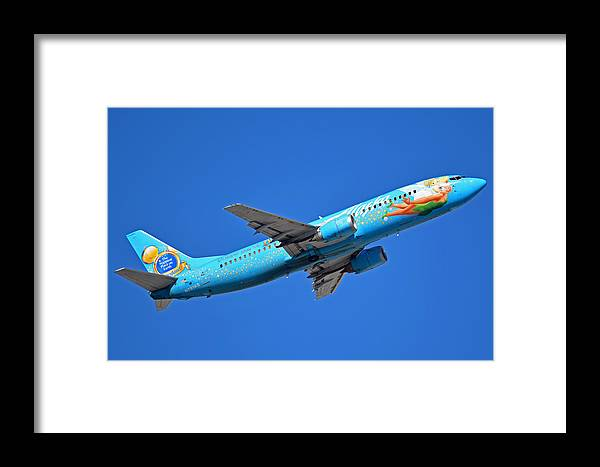 Airplane Framed Print featuring the photograph Alaska Boeing 737-490 N791as Tinker Bell Phoenix Sky Harbor January 12 2016 by Brian Lockett