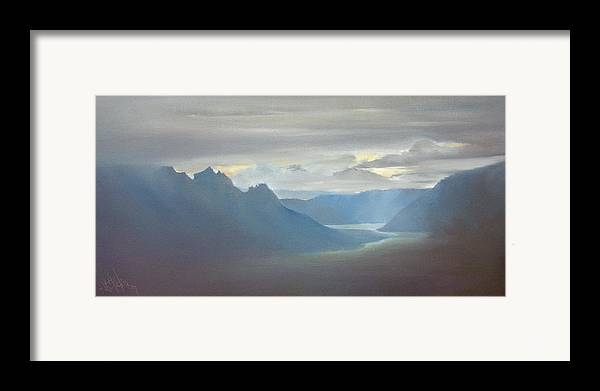 Landscape Framed Print featuring the painting Alaska Cloud Break by Debbie Anderson