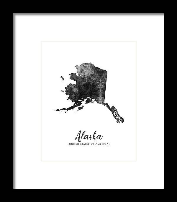 Alaska Framed Print featuring the mixed media Alaska State Map Art - Grunge Silhouette by Studio Grafiikka