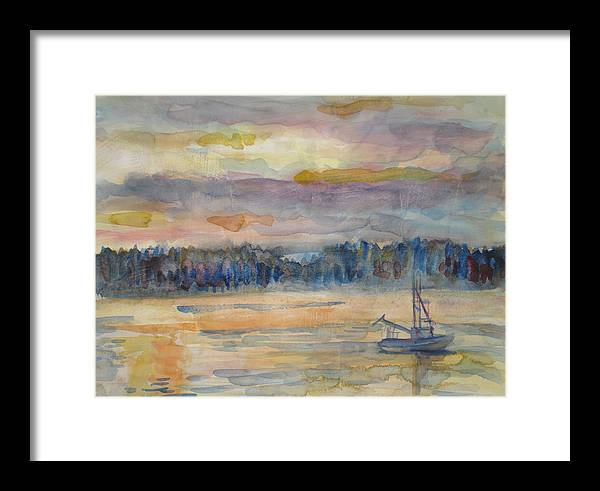 Alaska Framed Print featuring the painting Alaskan Fishing Boat Sunrise by Joyce Kanyuk