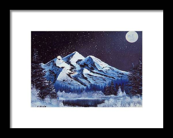 Alaska Night Scenery Snow Winter Mountains Framed Print featuring the painting Alaskan Night by Eileen Blair