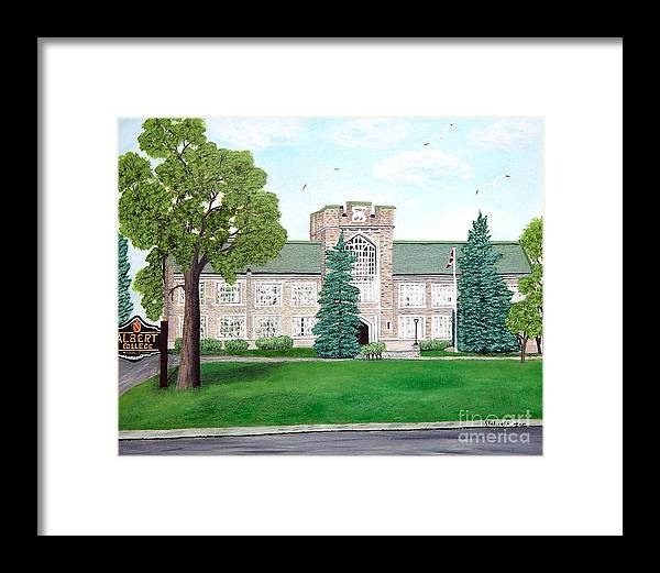 School Paining Framed Print featuring the painting Albert College by Peggy Holcroft