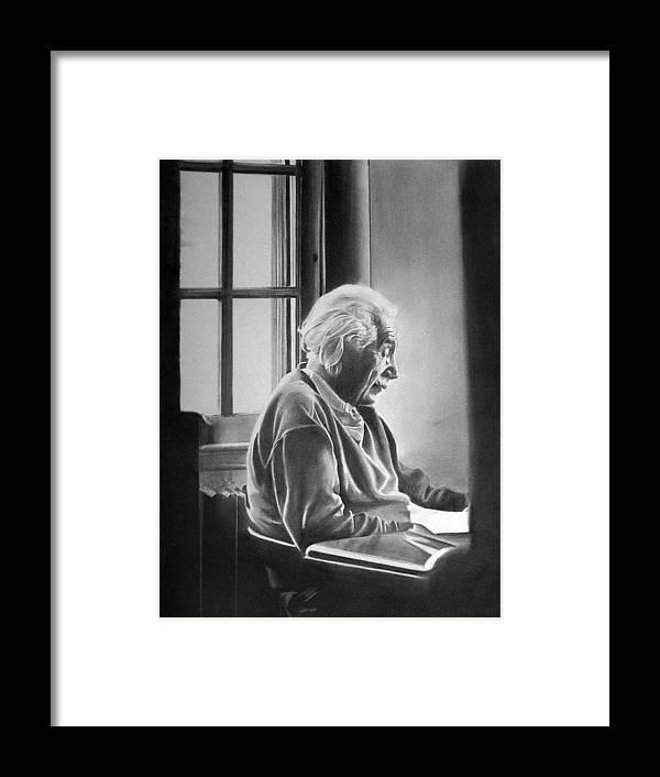 Einstein Framed Print featuring the drawing Albert Einstein by Felipe Galindo