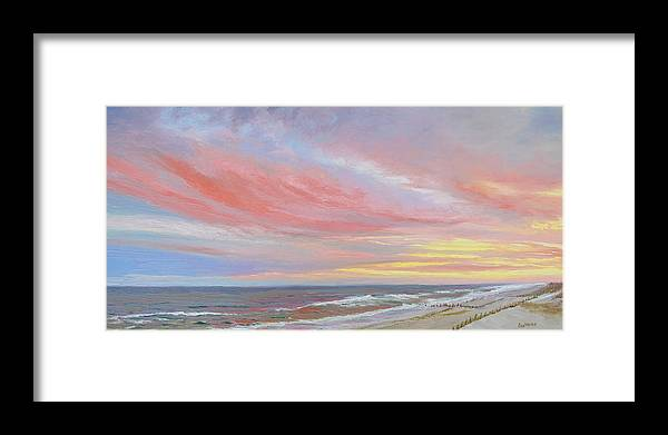 Seascape Framed Print featuring the painting Alberta's Sunset by Lea Novak