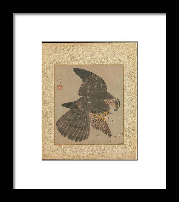 Kano Tsunenobu (japanese Framed Print featuring the painting Album Of Hawks And Calligraphy by Eastern Accent