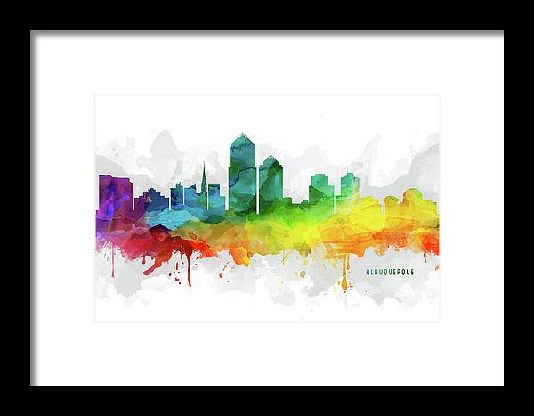 Albuquerque Skyline Mmr-usnmal05 Framed Print by Aged Pixel