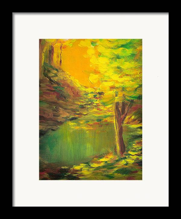 Landscape Framed Print featuring the painting Aldergrove Lake by Vivian Mosley