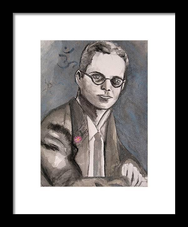 Aldous Brave Darkestartist Huxley New Painting Portrait Watercolor Watercolour World Framed Print featuring the painting Aldous Huxley by Darkest Artist